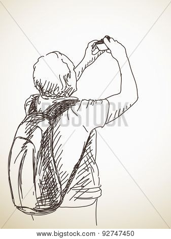 Tourist with pocket photo camera, Hand drawn illustration sketch