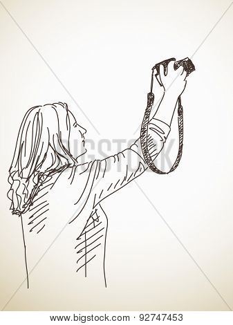 Sketch of Woman taking photo with photo camera, Hand drawn illustration