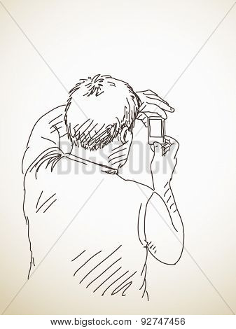 Man with pocket photo camera, Hand drawn illustration sketch