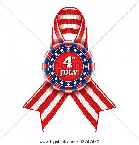 4th July - Independence day of United States of America  - festive vector badge with striped ribbon in national colors isolated on  white background.