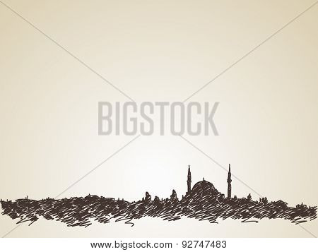 Sketch of mosque silhouette skyline, Hand drawn illustration