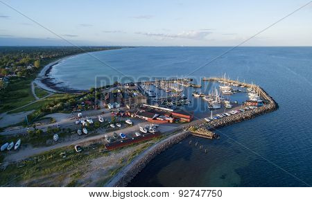 Aerial View Of Mosede Habour, Denmark