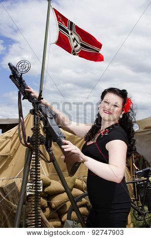 Pinup Model With Nazi Flag