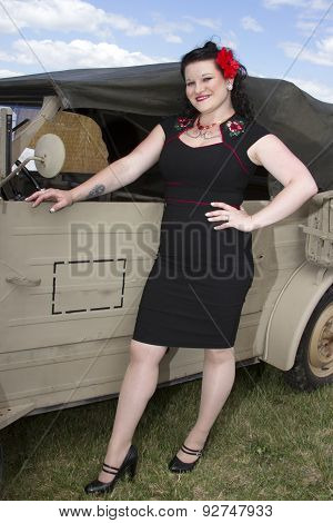 Pinup Next To Jeep