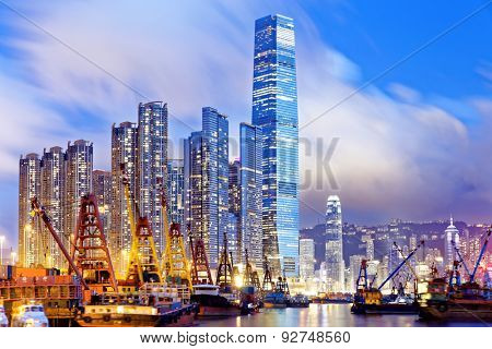 Hong Kong at night, office buildings background