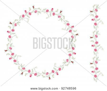 Detailed contour wreath with herbs and wild stylized flowers isolated on white. Round frame for your design, greeting cards, wedding announcements, posters.Seamless pattern brush.