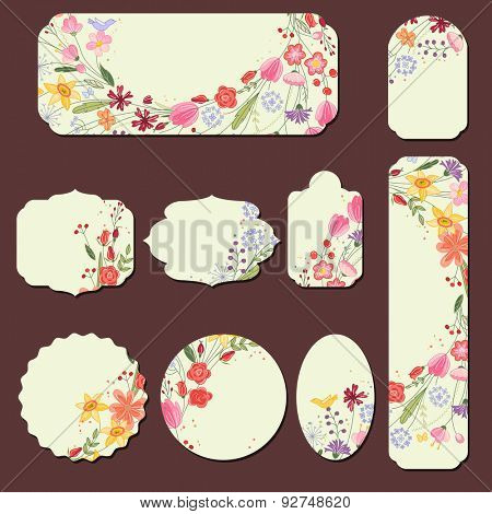 Collection with different paper labels. Round,square,rectangular, different shapes. Red and yellow wild flowers and berries.