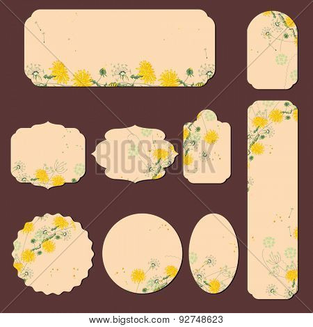 Collection with different paper labels. Round,square,rectangular, different shapes. Yellow dandelions and herbs.