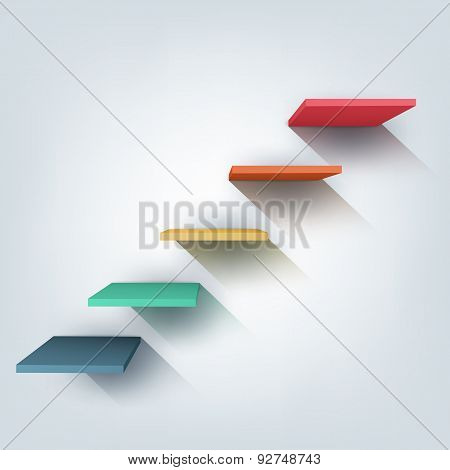 Abstract vector Illustration. Composition of 3d stairs.