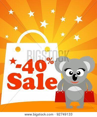 Sale poster with koala