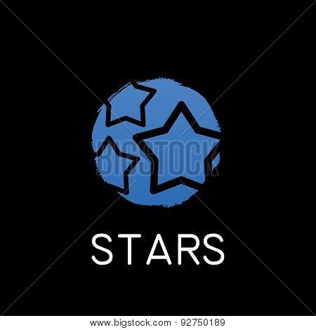 blue stars icon on black background