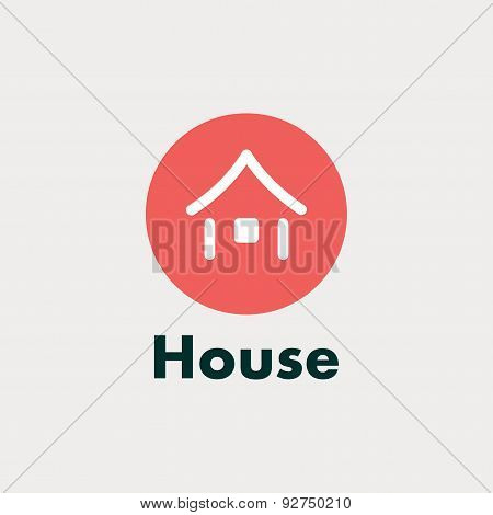 Icon house. Vector abstract silhouette