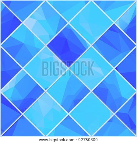 Geometric mosaik blue background