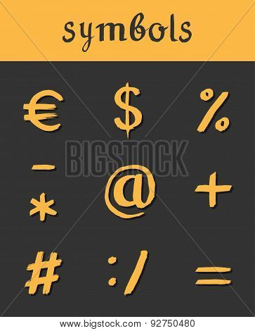 Vector hand drawn Icons. mathematical business symbols