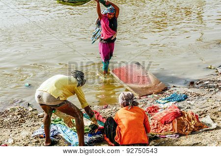 Laundry On Agra River, India