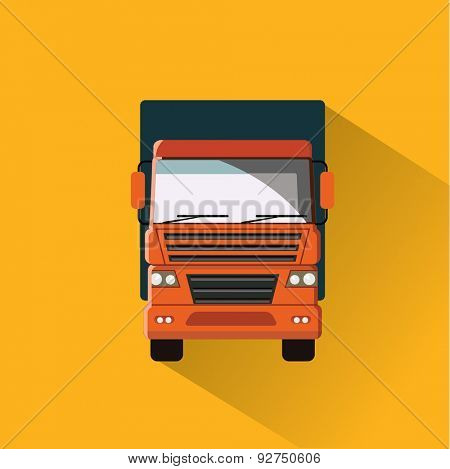 Truck on the road. Flat vector illustration. Front view.