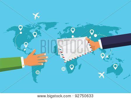 Postman Hand Give Envelope Flat Vector Illustration.  Post Service concept.
