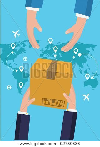 Postman Hands Give Parcel Flat Vector Illustration.  Post Service concept.