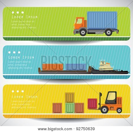 Transportation banners with long shadow flat images. Vector.