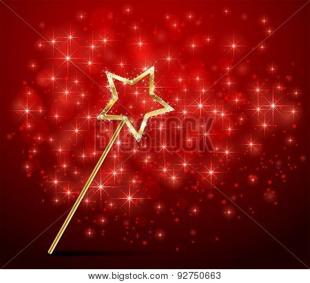 Sparkle Magic Wand On Red Background