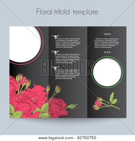 Floral roses template, tri-fold, mockup for brochure, menu, wedding, birthday card, valentin's day