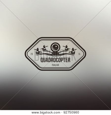 Drone quadcopter vintage style label. Vector sticker.