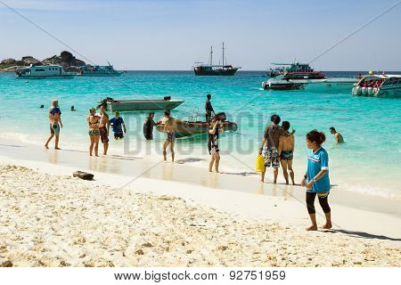 Tourists In February Siminski Islands. Thailand