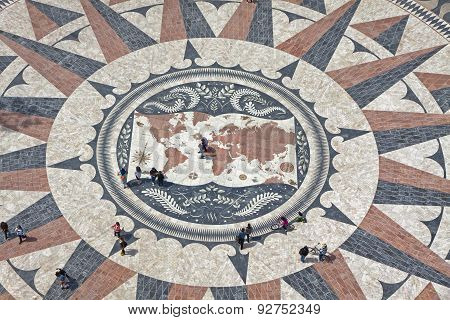 Mosaic Map Of The Portuguese Discoveries In Belem, Lisbon, Portugal