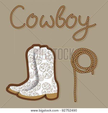 Cowboy poster. Wild west background for your design. Cowboy elements set.  Boots and lasso rope on brown background