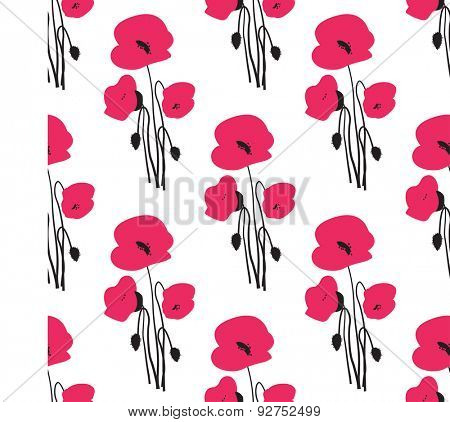 Seamless pattern with small red poppy flowers