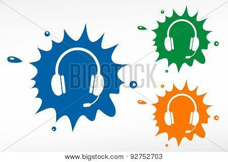 Headset Color Blob. Design Element.