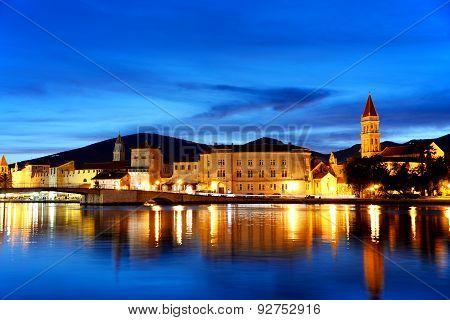 Old Town Of Trogir In Dalmatia, Croatia By Night