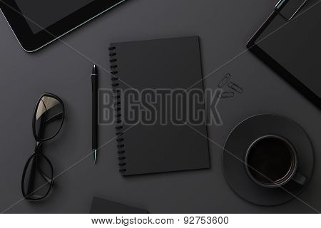 Blank Black Diary And Accessories