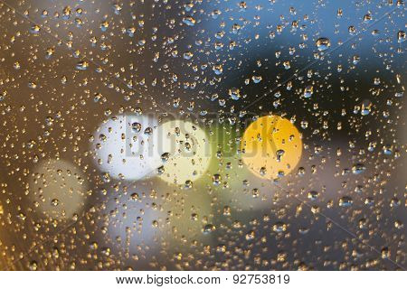 Raindrops On The Glass At Evening