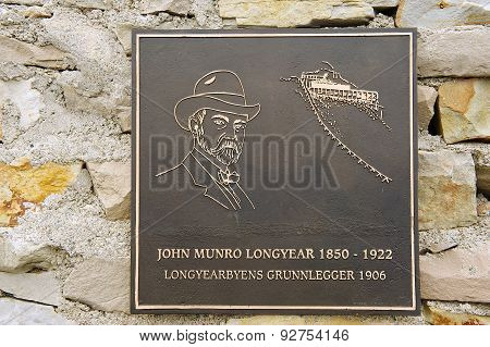 Exterior detail of the memorial to John Munro Longyear in Longyearbyen, Norway.