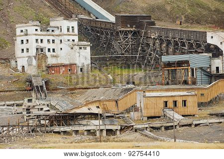 Exterior of the ruined coal mine in the abandoned Russian arctic settlement Pyramiden, Norway.