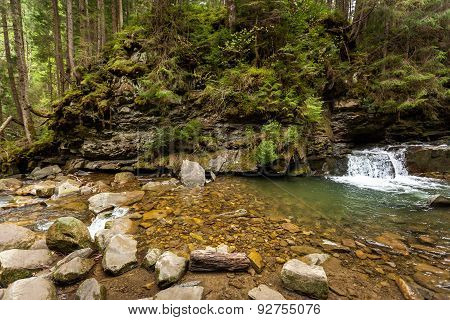 mountain river, stones, water flow, the roots of the trees, landscape, wildlife, river
