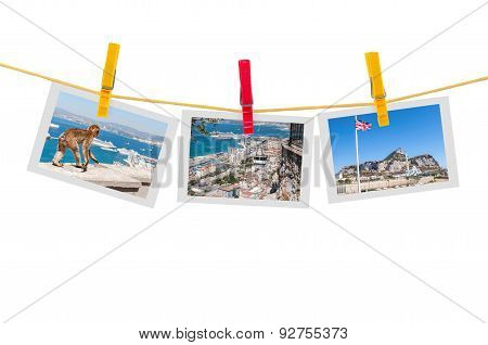 Three Photos Of Gibraltar On Clothesline