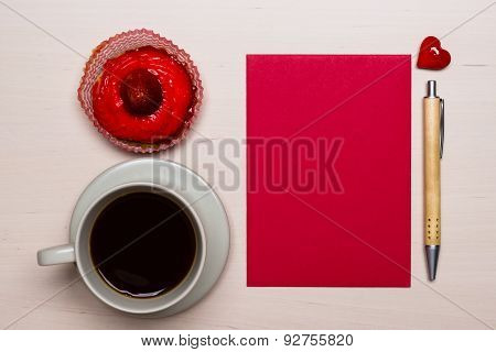 Coffee Cup Cupcake And Red Blank Paper