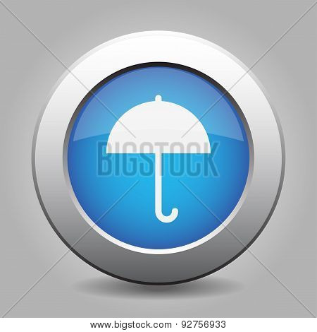 Blue Metal Button With Umbrella
