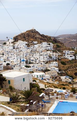 The Chora Capital Landscape With View Of Aegean Sea Ios Cyclades Island Greece