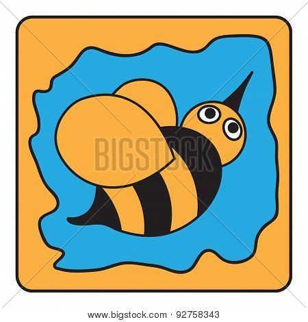 Cartoon Black Orange Bumble Bee