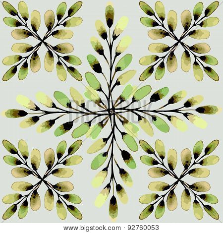 Seamless pattern. The cross-shaped beam of willow buds.