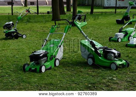 ST. PETERSBURG, RUSSIA - JUNE 4, 2015: Petrol mowers of Austrian company VIKING on a lawn in the Mikhailovsky Garden during the festival Emperor's Gardens of Russia. VIKING is a member of STIHL group