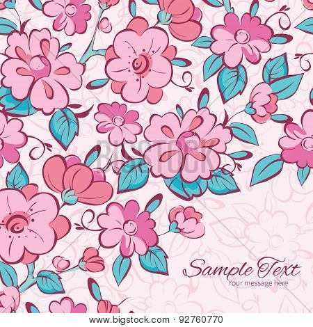 Vector pink blue kimono flowers frame corner pattern background