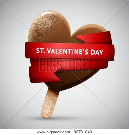 Chocolate Ice Cream In Heart Shape