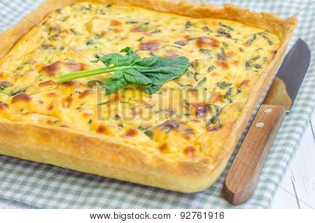 Ricotta Spinach Pie On The Wooden Table, Closeup