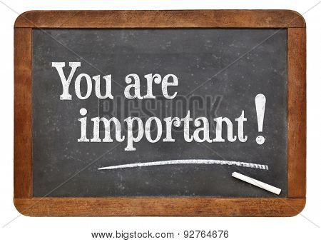 You are important - positive affirmation words on a vintage slate blackboard