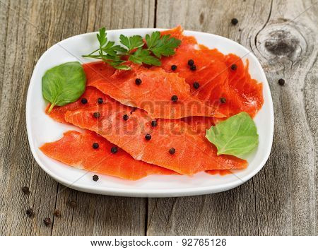 Cold Smoked Red Salmon On Plate Ready To Eat