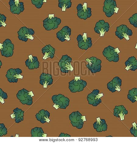colorful broccoli seamless pattern. food vector background